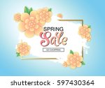 spring sale banner with... | Shutterstock .eps vector #597430364