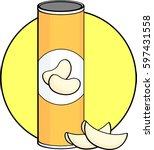 potato crisps bottle | Shutterstock .eps vector #597431558