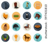 Set Of Horse Riding Color Flat...
