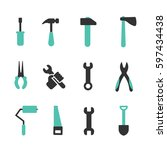 hand tools icon set on white... | Shutterstock .eps vector #597434438