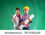 kids and education concept  ... | Shutterstock . vector #597436169
