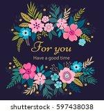 floral wreath on dark blue... | Shutterstock .eps vector #597438038