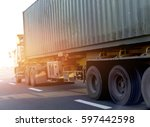 container truck on road | Shutterstock . vector #597442598