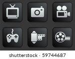 media icons on square black...   Shutterstock .eps vector #59744687