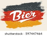hand drawn lettering bier on... | Shutterstock .eps vector #597447464