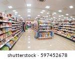 blur shot interior of... | Shutterstock . vector #597452678