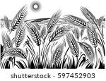landscape with wheat field. | Shutterstock .eps vector #597452903