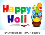 happy holi text background with ... | Shutterstock .eps vector #597455099