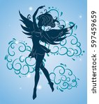 silhouette of the young girl... | Shutterstock .eps vector #597459659