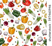 vector vegetables pattern... | Shutterstock .eps vector #597460946