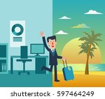 businessman vacation. holidays... | Shutterstock .eps vector #597464249