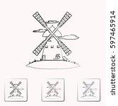 windmill vector icon. mill. | Shutterstock .eps vector #597465914