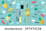 80s  summer color poster and... | Shutterstock .eps vector #597474158