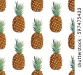watercolor pineapple seamless... | Shutterstock . vector #597475433
