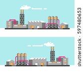 set of industrial buildings.... | Shutterstock .eps vector #597480653