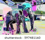 abstract memphis digital... | Shutterstock .eps vector #597481160