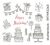 happy birthday hand drawn... | Shutterstock .eps vector #597492263