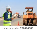 road and bridge construction... | Shutterstock . vector #597494600