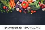 big set organic food. fresh raw ... | Shutterstock . vector #597496748
