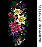 folkloric ethnic embroidery of...   Shutterstock .eps vector #597498530