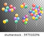 flying mega set of colorful ... | Shutterstock .eps vector #597510296