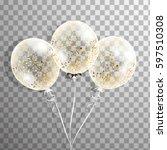 3d realistic transparent helium ... | Shutterstock .eps vector #597510308