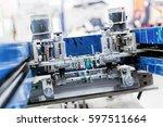print screening metal machine.... | Shutterstock . vector #597511664