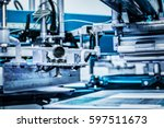 screen printing machine. metal... | Shutterstock . vector #597511673
