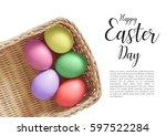 colorful easter eggs on white... | Shutterstock . vector #597522284
