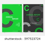 green square annual report... | Shutterstock .eps vector #597523724