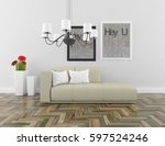 white living room interior with ... | Shutterstock . vector #597524246