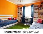 kids bedroom in orange and blue ... | Shutterstock . vector #597524960