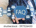 businessman presses the faq... | Shutterstock . vector #597526433