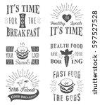 set of vintage food typographic ... | Shutterstock . vector #597527528