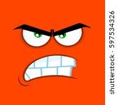 aggressive cartoon funny face... | Shutterstock .eps vector #597534326
