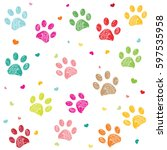 colorful hand drawn doodle paw... | Shutterstock .eps vector #597535958