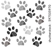 hand drawn doodle paw print... | Shutterstock .eps vector #597535970
