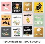 easter greetings vector... | Shutterstock .eps vector #597539249