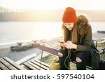 cheerful hipster girl with... | Shutterstock . vector #597540104