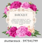 greeting card with peonies | Shutterstock .eps vector #597541799