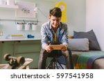 he is always on line with his... | Shutterstock . vector #597541958