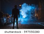 the man stand on the fume... | Shutterstock . vector #597550280