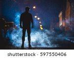 the man smoke in the cloud of... | Shutterstock . vector #597550406