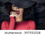 portrait of beautiful african...   Shutterstock . vector #597551528