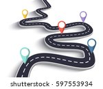 winding road on a white... | Shutterstock .eps vector #597553934