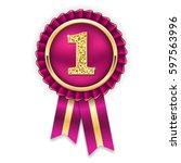 gold 1st place rosette  badge... | Shutterstock .eps vector #597563996