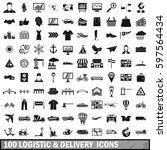 100 logistics icons set in...
