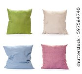 pillows on white background | Shutterstock . vector #597564740