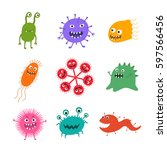 cartoon virus character vector... | Shutterstock .eps vector #597566456