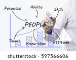 businessman hand drawing people ... | Shutterstock . vector #597566606